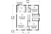 Country Style House Plan - 2 Beds 1 Baths 1030 Sq/Ft Plan #25-4392 Floor Plan - Main Floor Plan