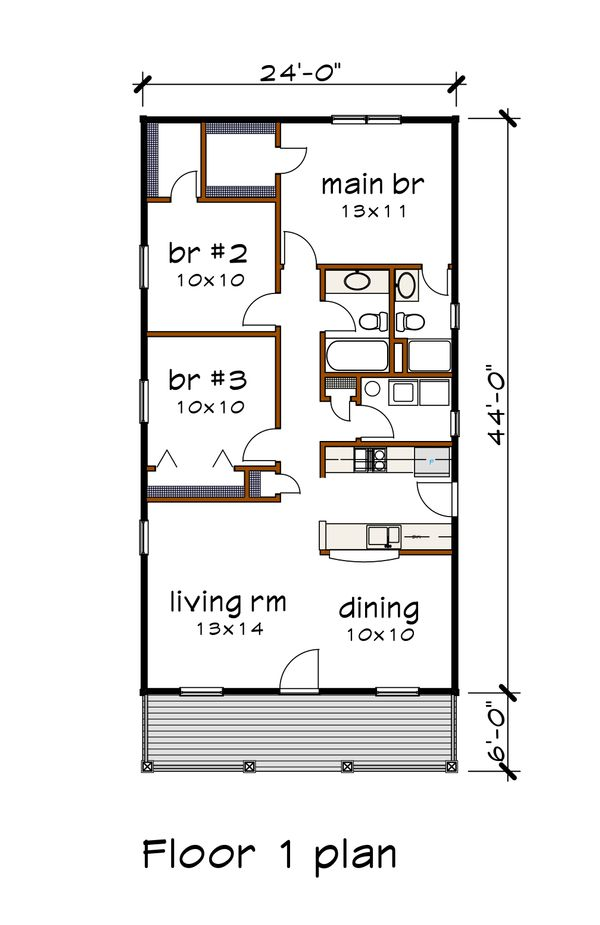 Dream House Plan - Cottage Floor Plan - Main Floor Plan #79-128