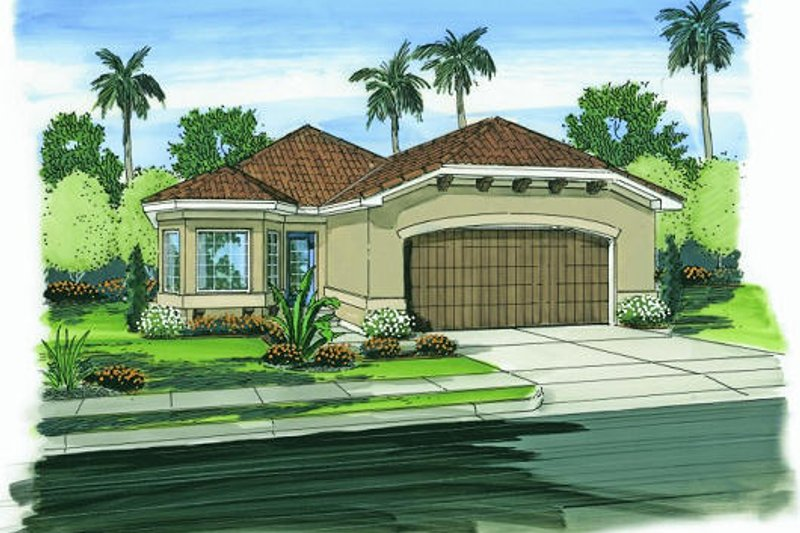 Mediterranean Style House Plan - 3 Beds 2 Baths 1304 Sq/Ft Plan #455-135 Exterior - Front Elevation