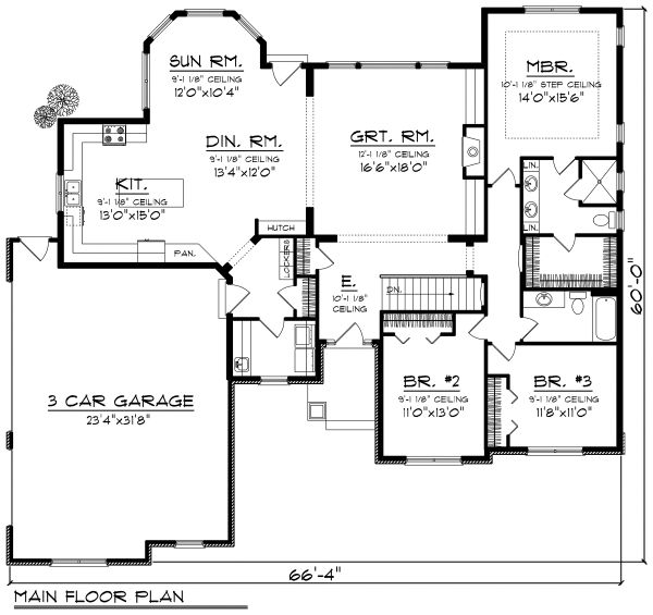 Ranch Floor Plan - Main Floor Plan Plan #70-1168