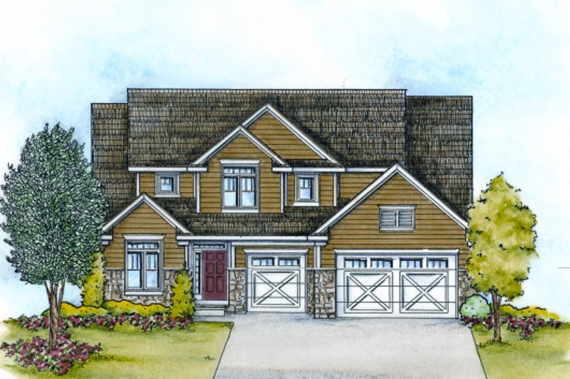 Dream House Plan - Craftsman Exterior - Front Elevation Plan #20-2114
