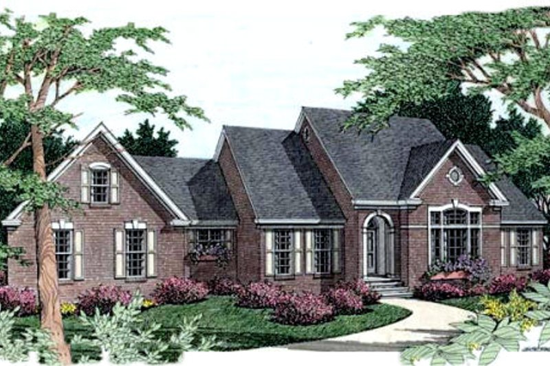 European Style House Plan - 3 Beds 2 Baths 2033 Sq/Ft Plan #406-182 Exterior - Front Elevation