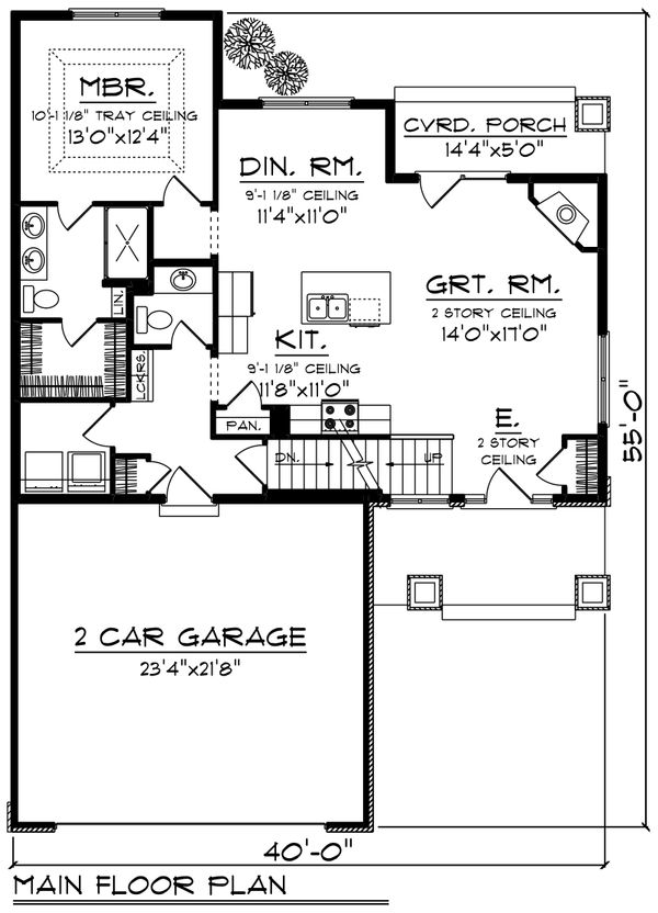 Craftsman Floor Plan - Main Floor Plan Plan #70-1239