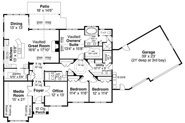 Ranch Floor Plan - Main Floor Plan Plan #124-1119