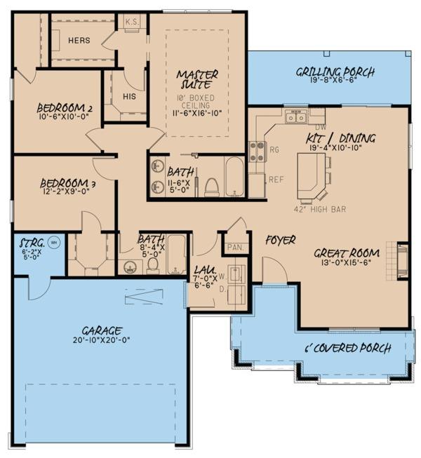 Traditional Floor Plan - Main Floor Plan Plan #923-61