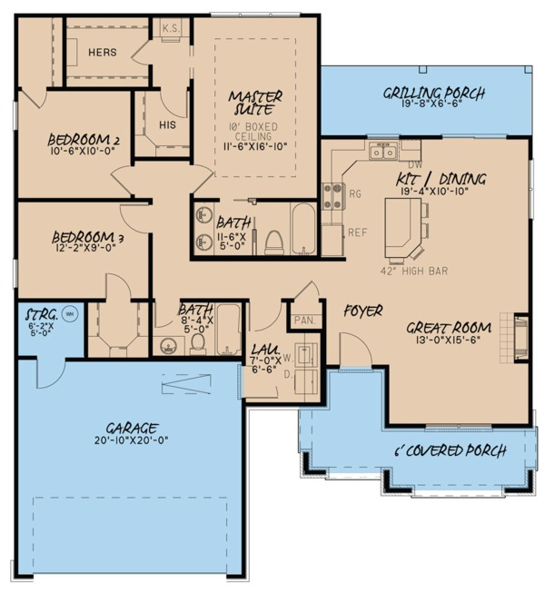 Traditional Floor Plan - Main Floor Plan Plan #923-61