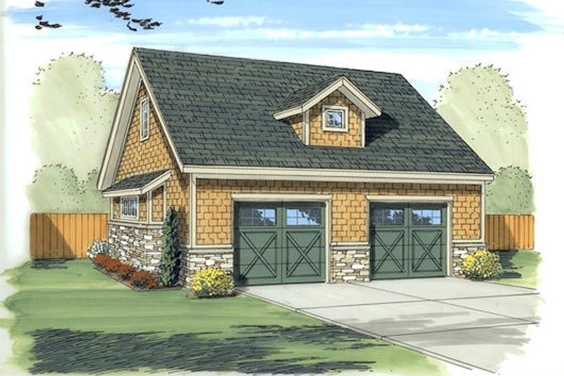 Traditional Style House Plan - 0 Beds 1 Baths 552 Sq/Ft Plan #455-10 Exterior - Front Elevation