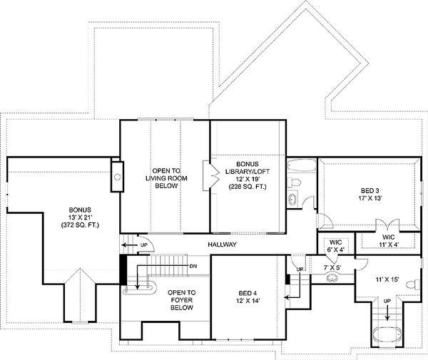 Craftsman Floor Plan - Upper Floor Plan Plan #119-327