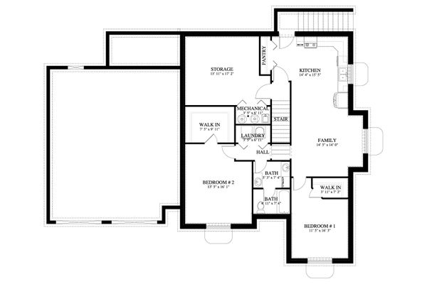 Cottage Floor Plan - Lower Floor Plan Plan #1060-64