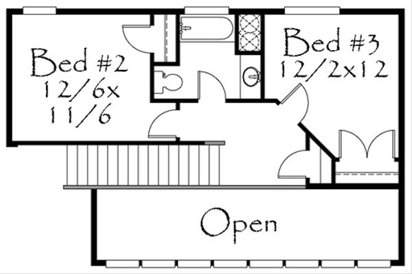 Craftsman Floor Plan - Upper Floor Plan Plan #509-22
