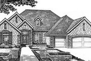 European Style House Plan - 4 Beds 3 Baths 2689 Sq/Ft Plan #310-546 Exterior - Front Elevation