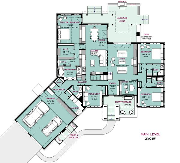 Craftsman Style House Plan - 4 Beds 5 Baths 4162 Sq/Ft Plan #917-41 Floor Plan - Main Floor Plan