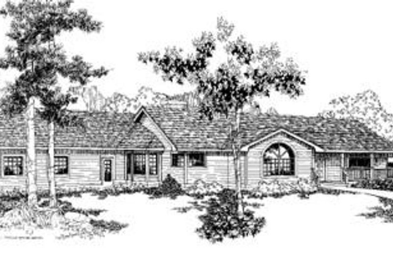 Ranch Style House Plan - 2 Beds 3 Baths 1712 Sq/Ft Plan #60-348 Exterior - Front Elevation