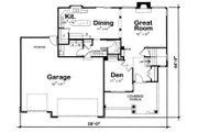 Craftsman Style House Plan - 4 Beds 3.5 Baths 2452 Sq/Ft Plan #20-2127 Floor Plan - Main Floor Plan