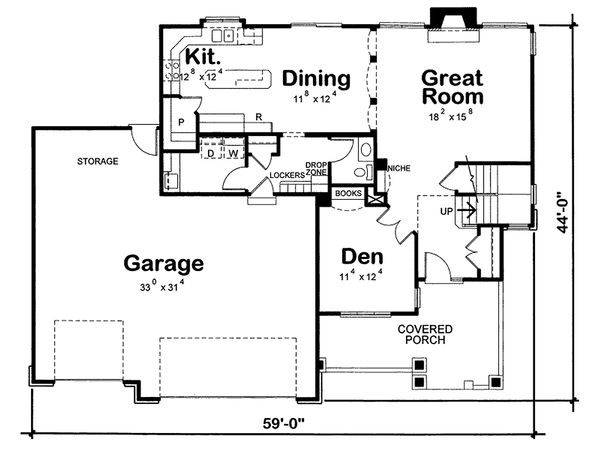 Craftsman house plan, floorplan