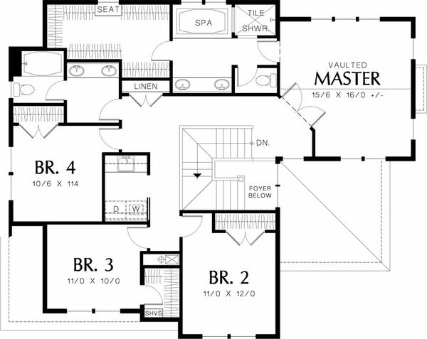 Upper level floor plan - 2450 square foot Craftsman Home