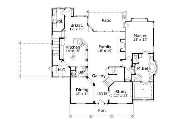Colonial Floor Plan - Main Floor Plan Plan #411-380