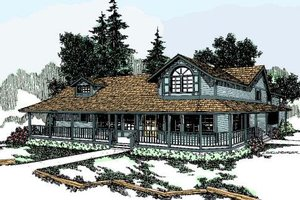 Dream House Plan - Farmhouse Exterior - Front Elevation Plan #60-130