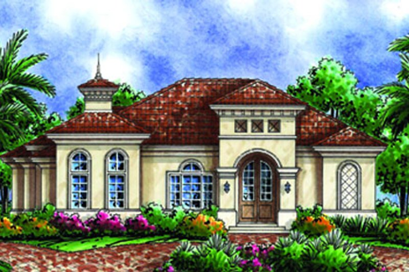 European Style House Plan - 3 Beds 3 Baths 2679 Sq/Ft Plan #27-439 Exterior - Front Elevation
