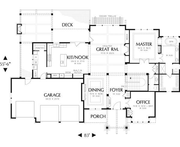 Craftsman Floor Plan - Main Floor Plan Plan #48-543