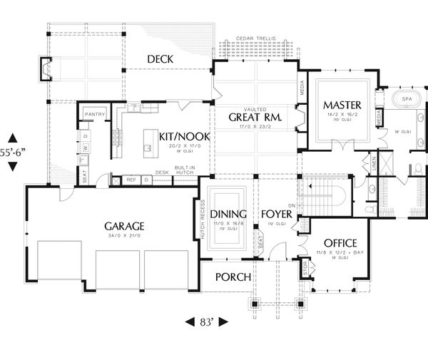 Craftsman Floor Plan - Main Floor Plan Plan #48-543