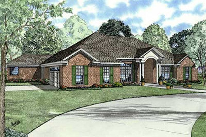 European Style House Plan - 4 Beds 3 Baths 2668 Sq/Ft Plan #17-1164 Exterior - Front Elevation