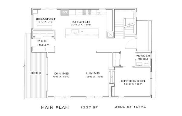 Contemporary Floor Plan - Main Floor Plan Plan #909-9