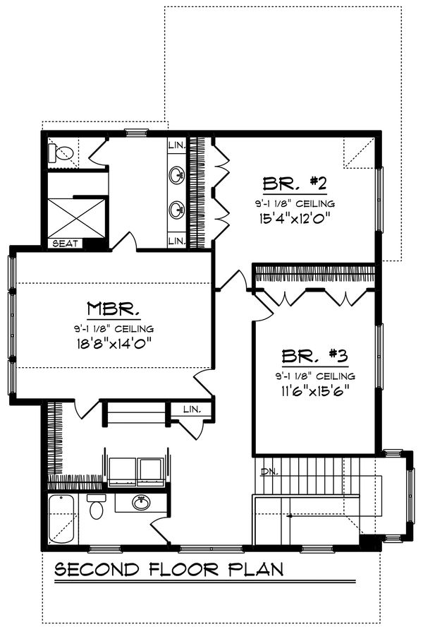 Craftsman Floor Plan - Upper Floor Plan Plan #70-1219