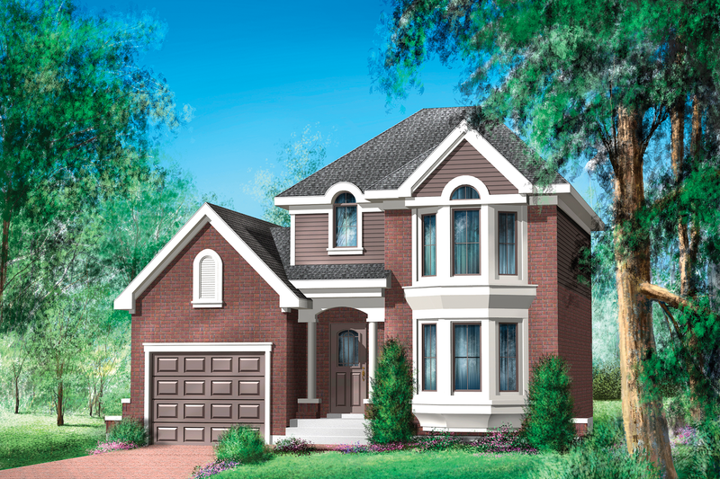 Traditional Style House Plan - 2 Beds 1 Baths 1105 Sq/Ft Plan #25-4470 Exterior - Front Elevation