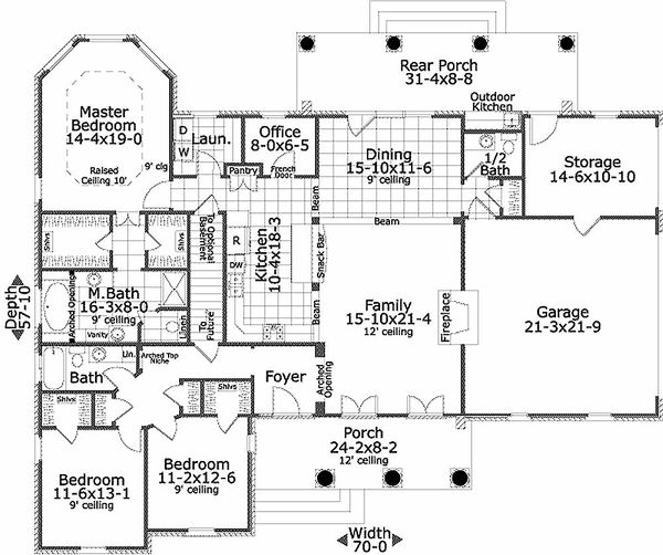 Southern Floor Plan - Main Floor Plan Plan #406-143
