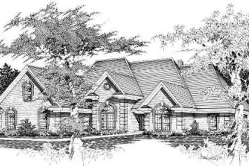 European Style House Plan - 5 Beds 3.5 Baths 3318 Sq/Ft Plan #329-295 Exterior - Front Elevation