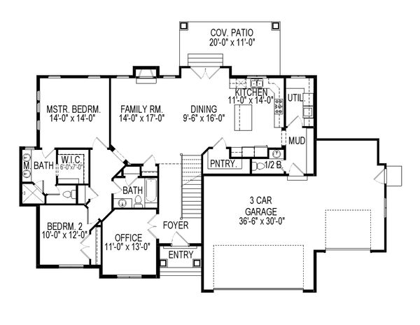 Ranch Floor Plan - Main Floor Plan Plan #920-83