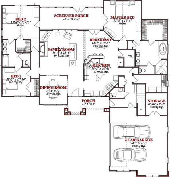 Bungalow Floor Plan - Main Floor Plan Plan #63-225