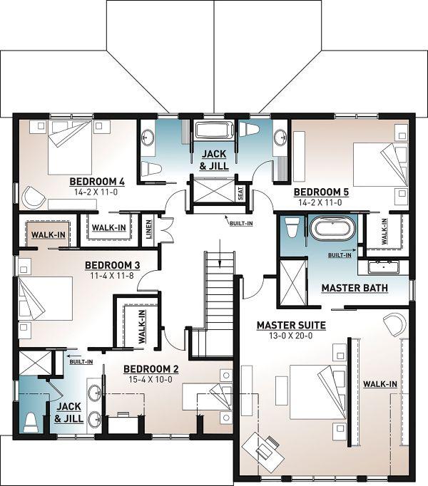 House Plan Design - Farmhouse Floor Plan - Upper Floor Plan #23-2686