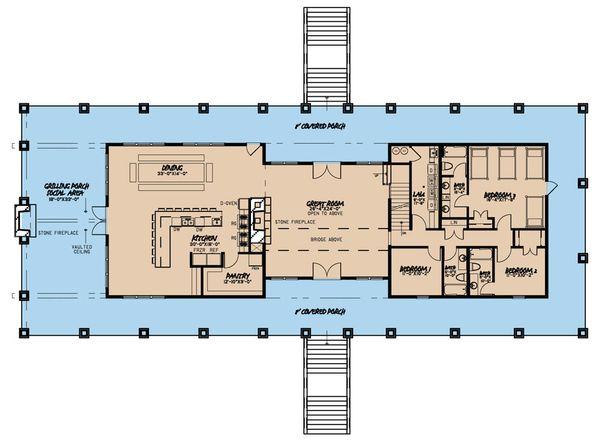 Country Floor Plan - Main Floor Plan Plan #923-47