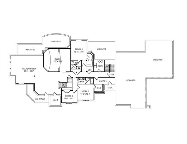 European Floor Plan - Lower Floor Plan Plan #920-113