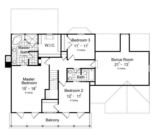 Classical Floor Plan - Upper Floor Plan Plan #417-207