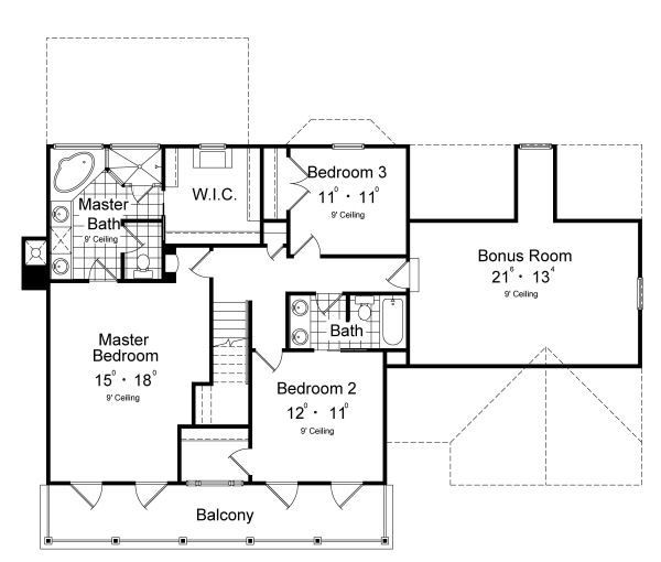 Classical Floor Plan - Upper Floor Plan Plan #417-207