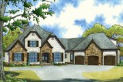 European Style House Plan - 4 Beds 3.5 Baths 3119 Sq/Ft Plan #923-66 Exterior - Front Elevation