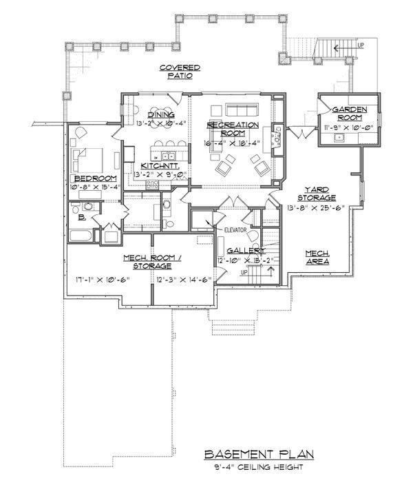Dream House Plan - European Floor Plan - Lower Floor Plan #1054-51