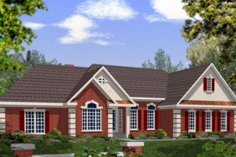 Southern Exterior - Front Elevation Plan #56-168