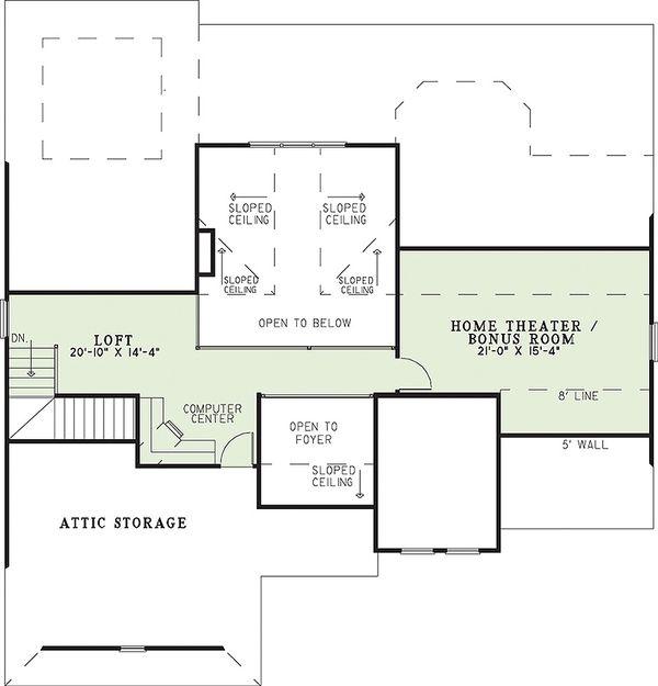 Traditional Floor Plan - Upper Floor Plan Plan #17-226
