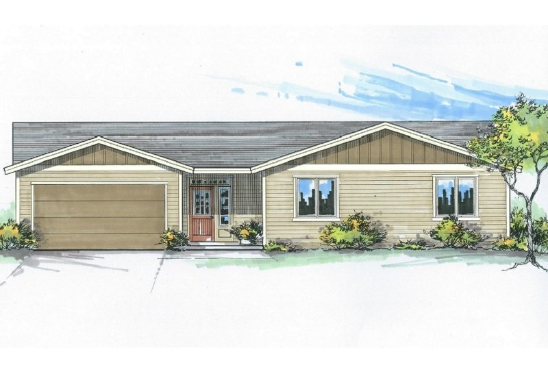 Craftsman Style House Plan - 3 Beds 2.5 Baths 1498 Sq/Ft Plan #53-529 Exterior - Front Elevation