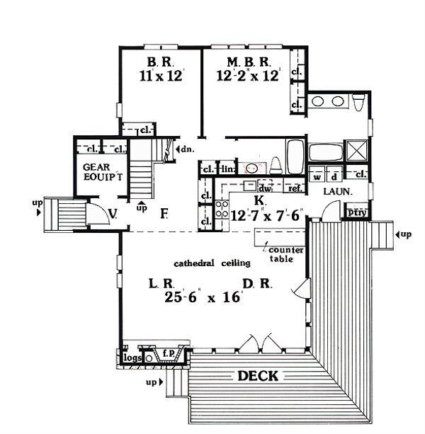 Cabin Floor Plan - Main Floor Plan Plan #456-10
