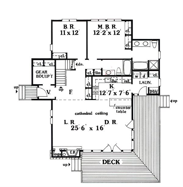 Cabin Floor Plan - Main Floor Plan #456-10