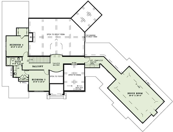 European Floor Plan - Upper Floor Plan Plan #17-2498