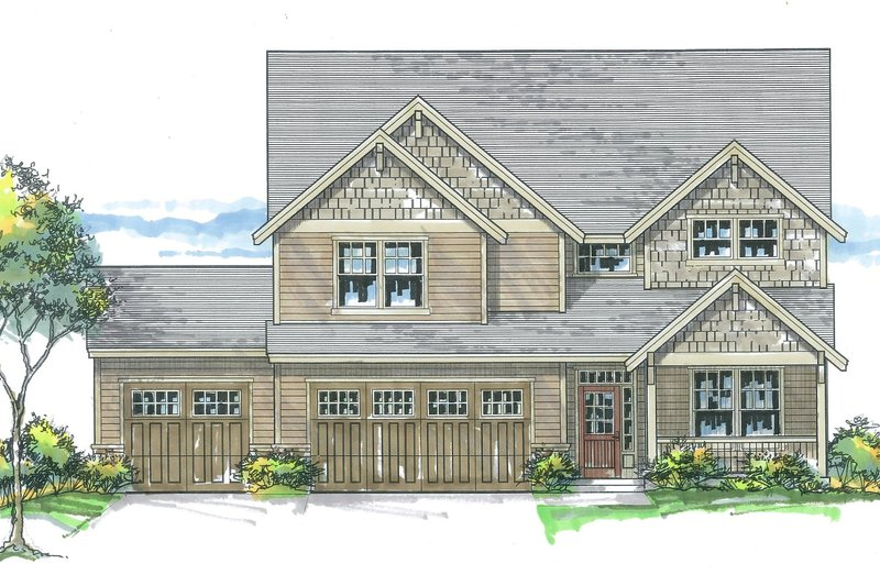 Craftsman Exterior - Front Elevation Plan #53-583
