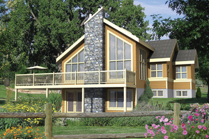 Cabin Exterior - Front Elevation Plan #25-4575