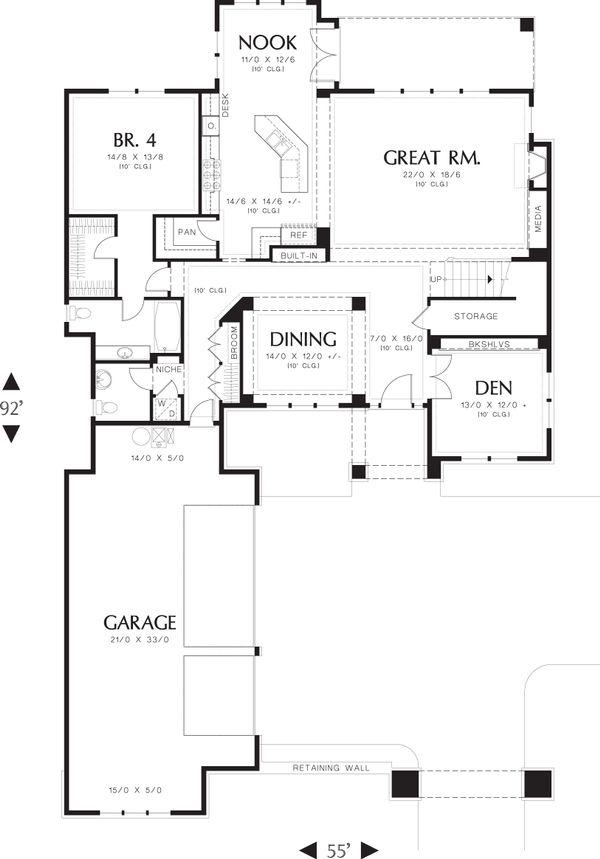 Prairie Floor Plan - Main Floor Plan Plan #48-623