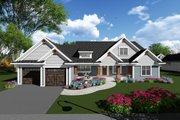 Ranch Style House Plan - 2 Beds 2.5 Baths 2318 Sq/Ft Plan #70-1273 Exterior - Front Elevation